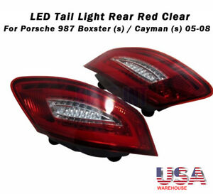 For 2005 2008 Porsche Boxster 987 05 08 Cayman Red Clear Led Tail Lights Usa