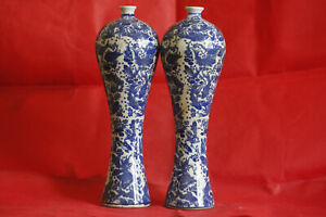 1 Pair Antique Chinese Unique Style Blue And White Porcelain Fish Vase R3