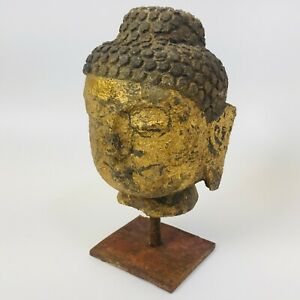 Vintage Metal Buddha Head Statue Very Heavy Rustic And Unique