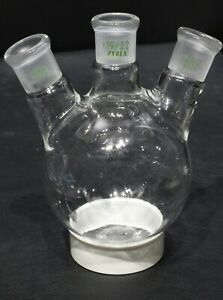Corning Pyrex 3 neck Round Bottom Angled Boiling Flask 250 Ml With 19 32 Joints