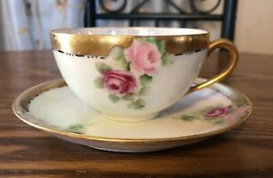 Vintage Thomas Sevres Bavaria Hand Painted Roses Cup Saucer With Gold Trim