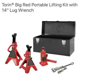 Torin Big Red 6 Ton Hydraulic Bottle Jack Combo With 2 Jack Stands And Tool Box