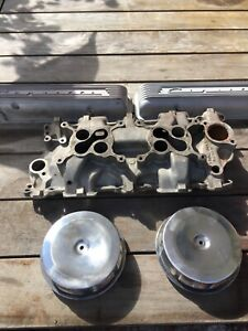 1957 Corvette Chevy Dual Quad Set Up manifold Valve Covers Air Cleaners