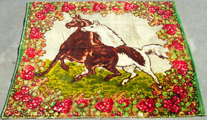 Vintage Horse Chasing Floral Buggy Carriage Lap Sleigh Blanket 61x52 W Glass Eye