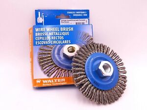 Walter 13 k 464 Wire Wheel Brush 4 1 2 x3 16 x5 8 Stainless Steel 20 000 Rpm