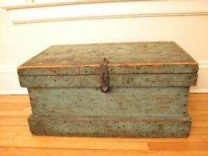 Antique Primitive Tool Chest Blanket Box In Blue Paint Petite Coffee Table 19thc