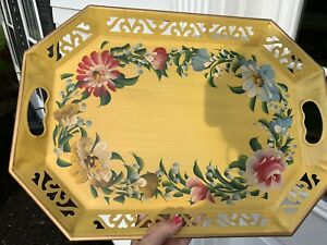 Antique Vintage Yellow Gold Toleware Floral Tray 18 1 2 X 13 1 2