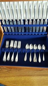 Antique Sterling Silver 36 Piece Flatware Set Service For 12 D Monog With Case