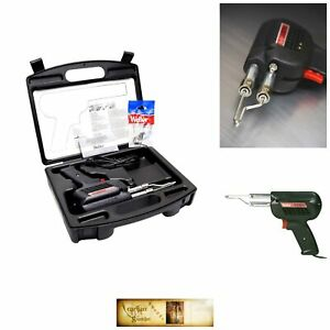 Soldering Gun Kit 120 V Dual Heat Gun Tips Flux Brush Storage Case Workshop Tool