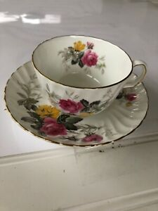 Vintage Adderley England Bone China Tea Cup And Saucer Pink Yellow Roses Gold