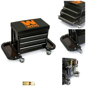 Mechanics Rolling Seat Garage Creeper Stool Shop Car Work Tool Box Storage Chest