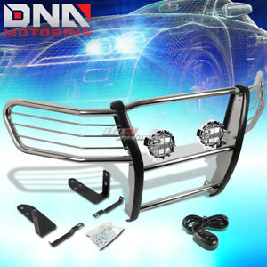 Chrome Brush Grill Guard Round Clear Fog Light Fit 03 11 Honda Element Y1 H1