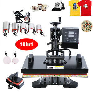 Digital 10 In 1 Transfer Heat Press Machine Sublimation T shirt Cap Swing away