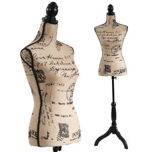 New Linen Female Mannequin Torso Dress Form Clothing Display Tripod Stand Base