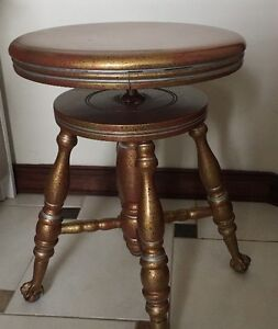 Vnt Parker Co Wooden Swivel Piano Stool Iron Eagle Claw Glass Ball Feet