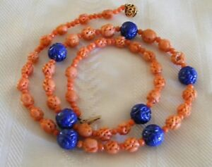 Amazing Hand Carved Natural Salmon Red Coral Lapis Chinese Shou Bead Necklace