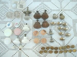 Vintage Lot 50 Drawer Cabinet Knobs Pulls Glass Meta Brass Wood Chrome