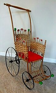 Antique Vintage Victorian Baby Doll Buggy Stroller Wicker Wood Metal 28 Tall