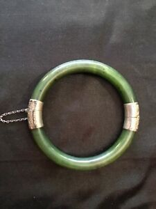 Vintage Chinese Spinach Green Jade 925 Marked Silver Bracelet