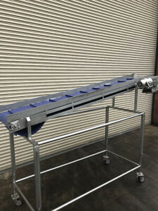 16 X 10 Long Stainless Incline Cleated Belt Food Conveyor