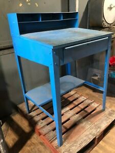 Blue Industrial Standing Warehouse Shop Desk Metal Steel Vintage Garage Can Ship