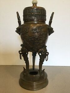 Antique Vtg Chinese Japanese Bronze Censer Incense Burner Birds Jade Finial 11