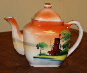 Antique Hand Painted Windmill Made In Japan Ceramic Orange Teapot