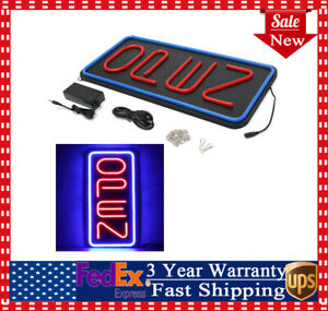 Big Vertical Neon Open Sign Store Business Bright Display Led Large Red blue