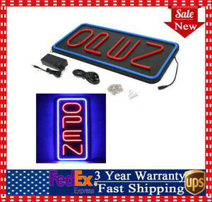 Vertical Neon Open Sign Store Business Bright Display Led Large Big Red Blue