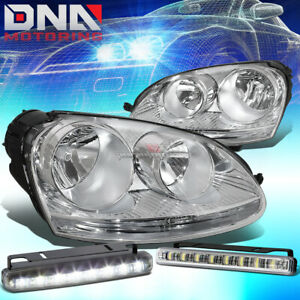 Chrome Housing Clear Side Headlight Smoked Drl Led Lamp Fit 05 10 Vw Jetta Gen5