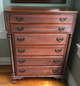 Solid Cherry Antique Willett Wildwood Rope Twist Tall Chest Of Drawers Dresser