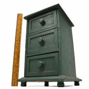 Vintage Apothecary Cabinet 3 Drawer Spice Rack Old Green Over Older Red Paint
