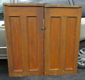Pair Of 1800 S Civil War Era Grain Panel Connecticut Cupboard Doors From A Barn