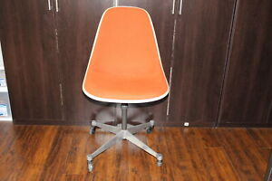 Vintage Herman Miller Eames Fiberglass Shell Swivel Chair Casters Orange Fabric