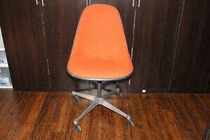 Vintage Herman Miller Eames Fiberglass Shell Wheeled Swivel Chair Orange Fabric