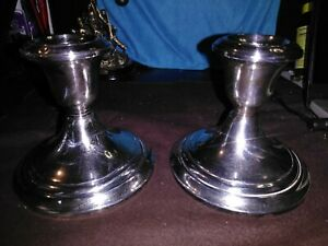 33 4 T Gorham 22oz Weighted Candle Holders Sterling Silver Rnd Dome Bases Ve