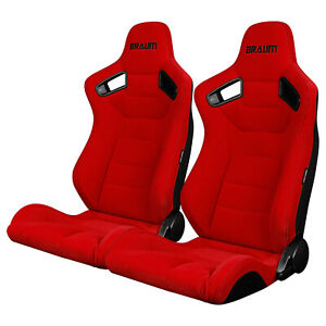 Braum Red Fabric Elite Racing Seats W Black Stitching Brr1 rfbs pair