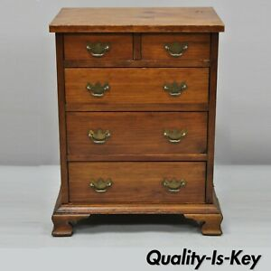 Antique Small Miniature 24 Pine Wood Chippendale Style Tall Chest Dresser