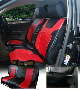 Non slip100 Pu Leather 5 Car Seat Cushion Covers For Suv Truck Van Black red