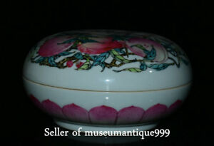 8 Marked Chinese Famille Rose Porcelain Qing Dynasty Peach Jewelry Round Box