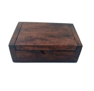 Wooden Box Vintage Trinket Storage Jewelry Coin Holder Carved Organizer Case