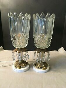 Antique Electric Luster Lamps Prism Crystals Marble Base Italy