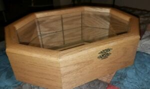 Fine Vintage Solid Oak Glass Mirrored Display Case Octagon Shaped Hinged Lid