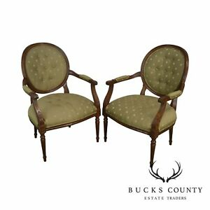 Ethan Allen French Louis Xvi Style Pair Armchairs