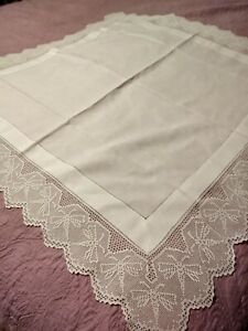 Antique Irish Linen Crochet Lace 48 Dragonfly Tablecloth