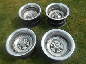 Chevy 15 Rally Wheels Center Caps Rings 5 Lug 5 On 5 Pattern 8 Wide