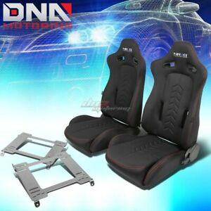 Nrg Black Reclinable Racing Seats Full Stainless Bracket For 94 01 Integra Dc