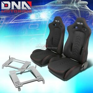 Nrg Black Reclinable Racing Seats Full Stainless Bracket For 05 Gt500 Mustang