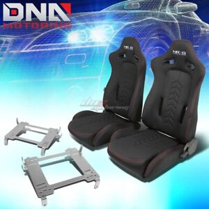 Nrg Black Reclinable Racing Seats full Stainless Bracket For Civic Fg2 Fa1 Fd2