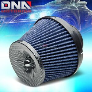 3 Short Ram Cold Air Intake Round Funnel Washable Blue Rubber Filter Clamp